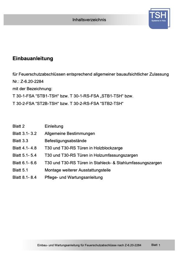 Einbauanleitung und Wartungsanleitung STB Z 6.20 2284