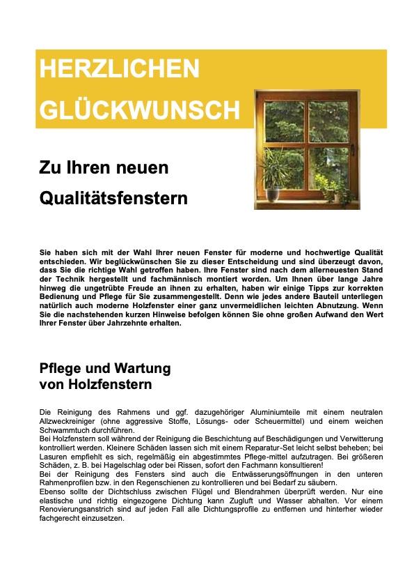 Gebrauchsinformation von Holzfenstern