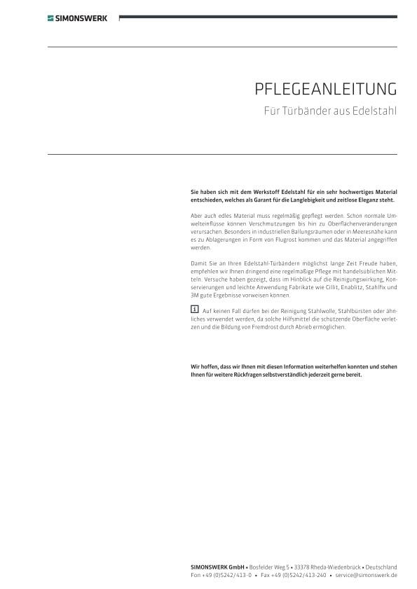 PFLEGEHINWEIS Simonswerk EDELSTAHL