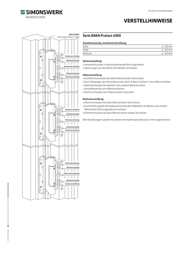 Verstellhinweis Serie BAKA Protect 4000
