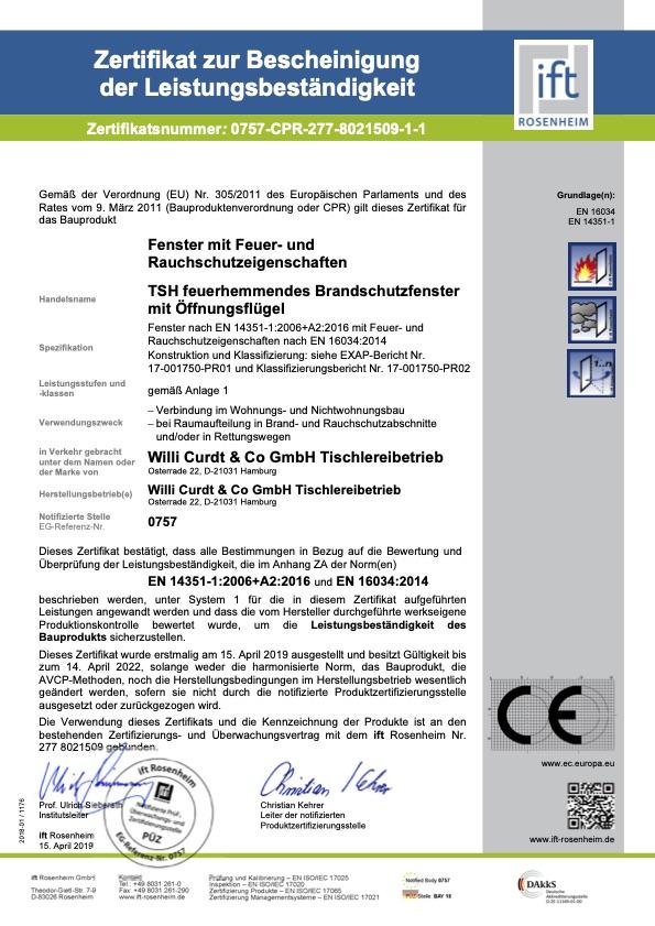 Zertifikat zur Bescheinigung der Leistungsbestaendigkeit 277