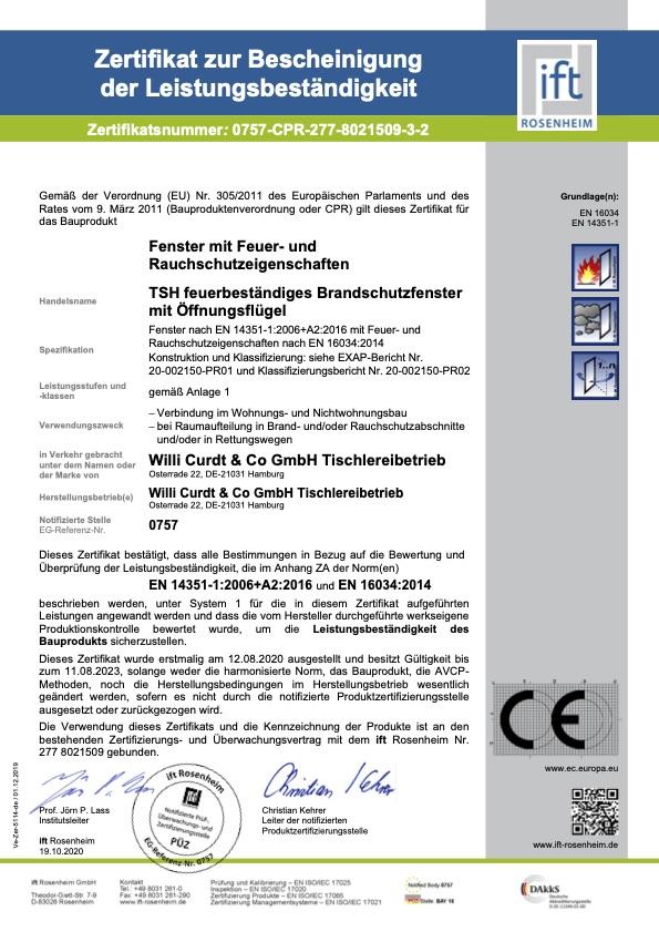 Zertifikat zur Bestaetigung der Leistungsbestaendigkeit 8021509 3 de 2