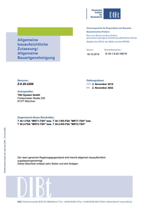 allgemein bauaufsichtliche Zulassung elektronische Kopie Z 6.20 2266