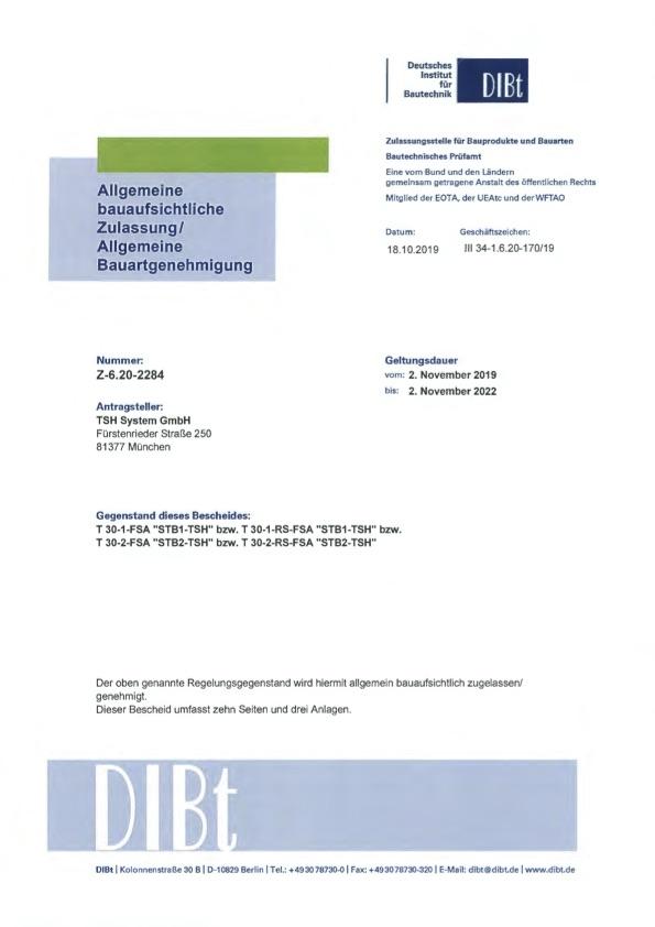 allgemeine bauaufsichtliche Zulassung Z 6.20 2284